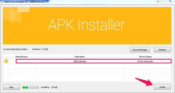 installing device on ADB