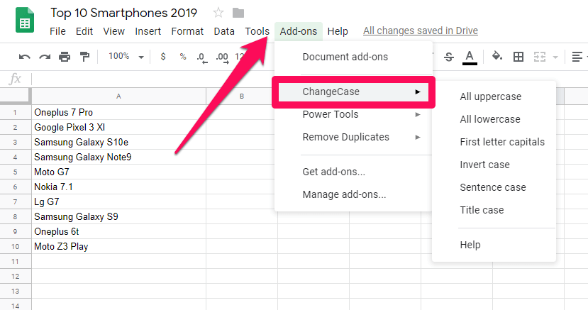 convert to capitals in Google Sheets - changecase menu
