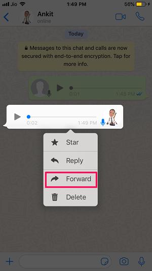 Forward WhatsApp message