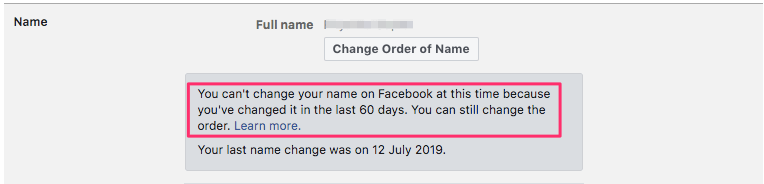 Can't change name on Facebook before 60 days