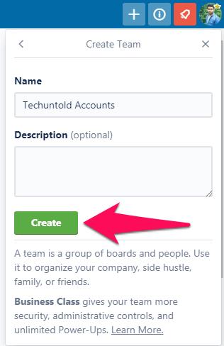 create team on trello