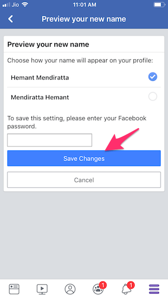 Confirm change of Facebook name
