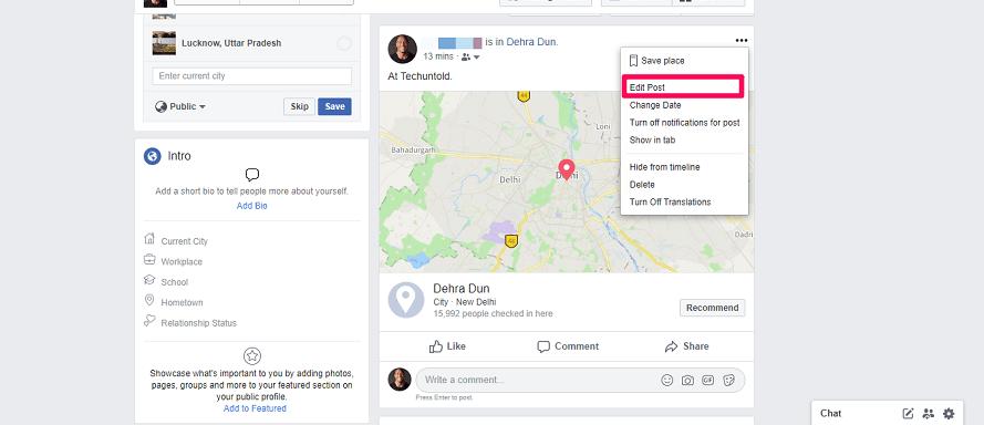 Facebook Edit post