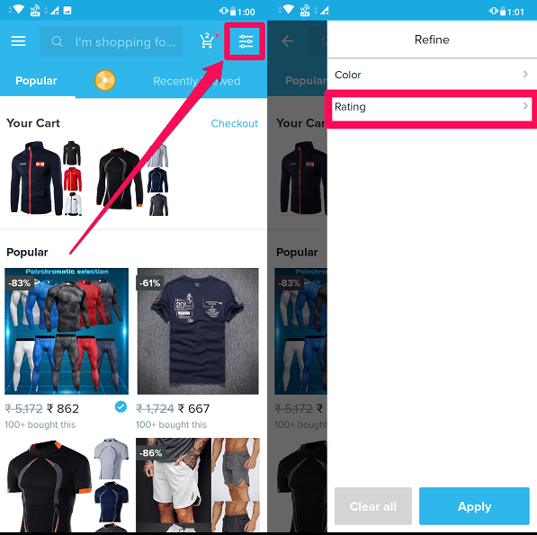 Filter and ratings option to filter bad products on wish app