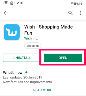 Open wish app after installing