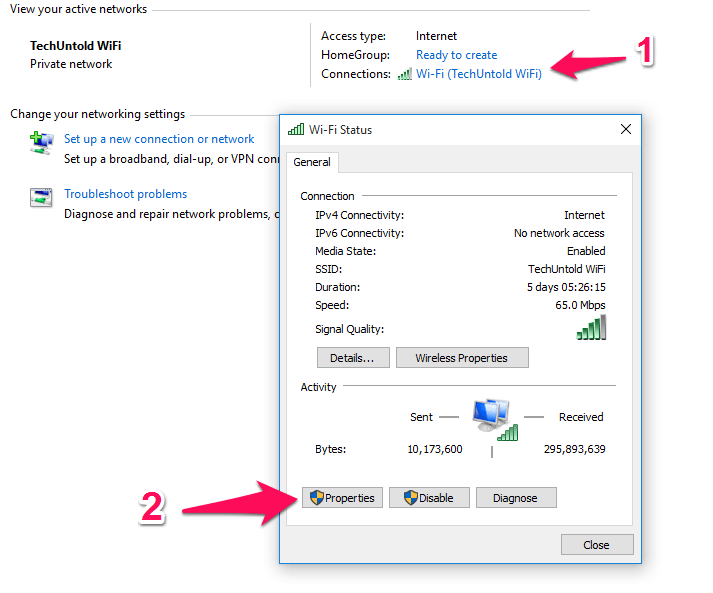 Select WiFi and Properties