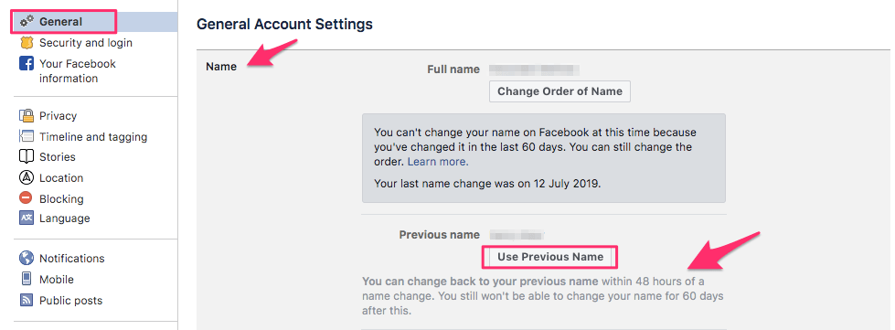 Switch to previous name within 48 hours