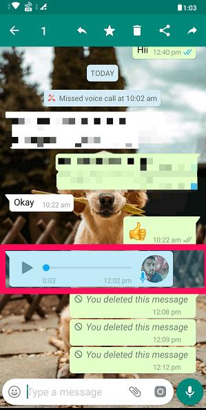 select WhatsApp audio