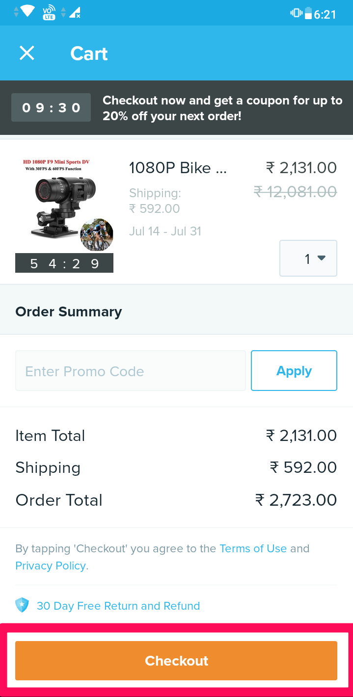 cart for product checkout