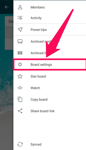 clicking on board settings