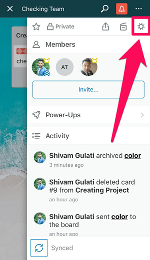 clicking on settings icon