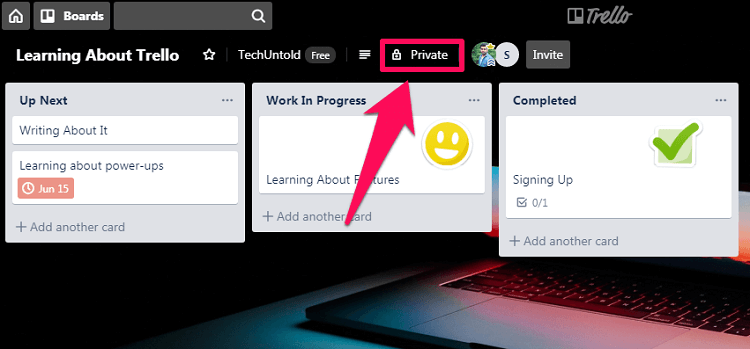 change visibility of board on Trello