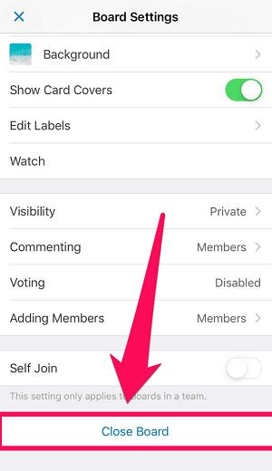 closing trello board in iOS