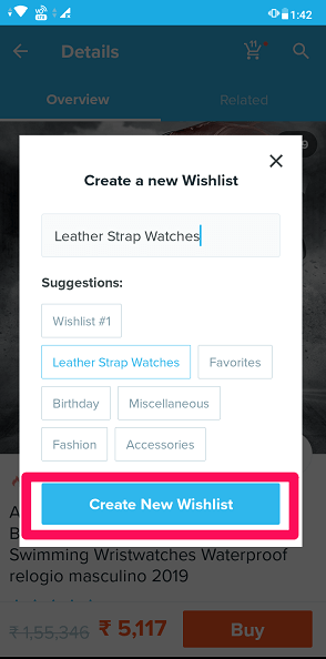 creat new wishlist