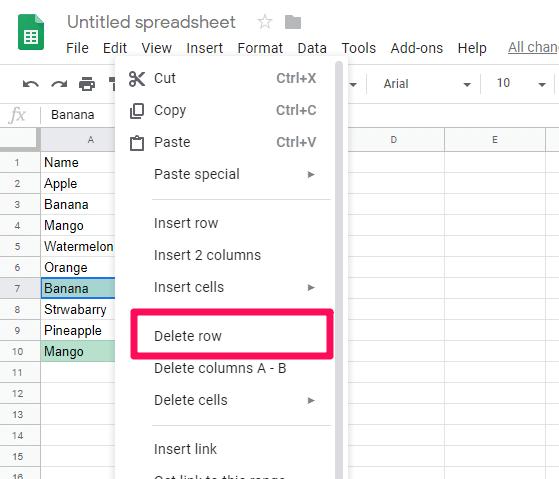 delete rows option