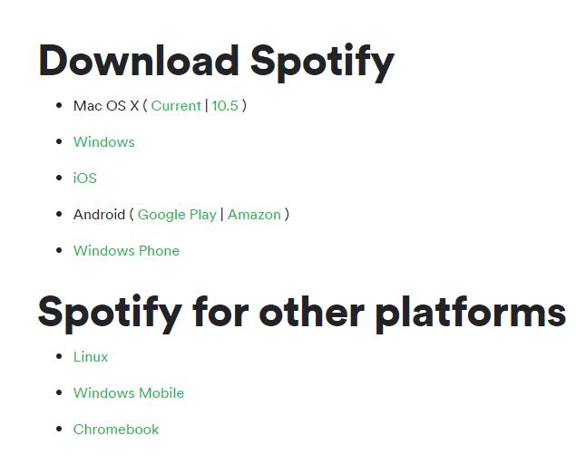download spotity app through website
