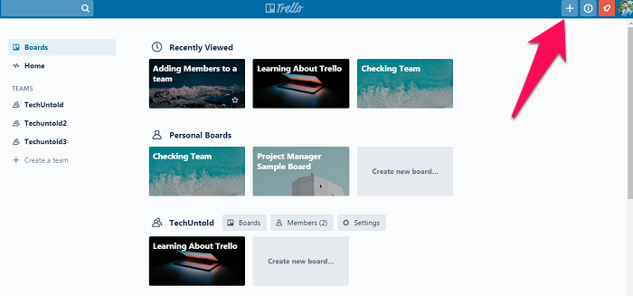 going to the boards section on Trello