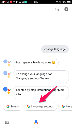 google assistant language settings