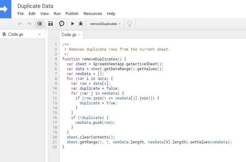Remove Duplicate rows script