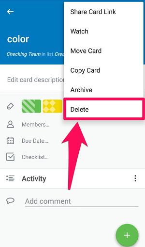 permanently delete trello card on android