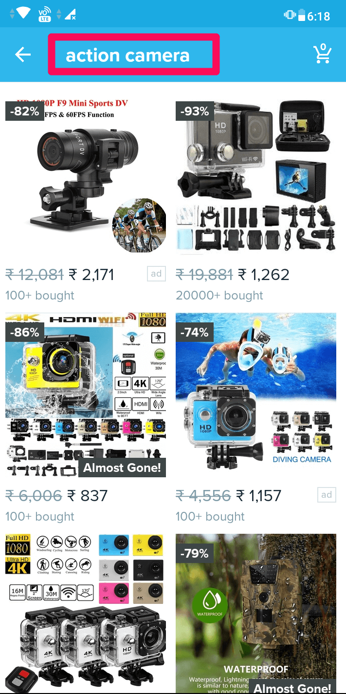 search for product on wish app