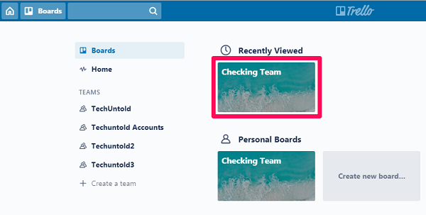 selecting a board to delete