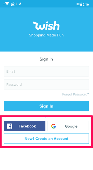 sign in or sign up to wish app