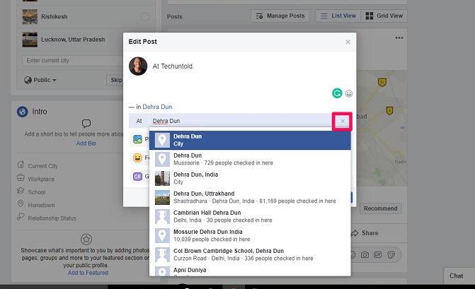 Remove location from a Facebook post