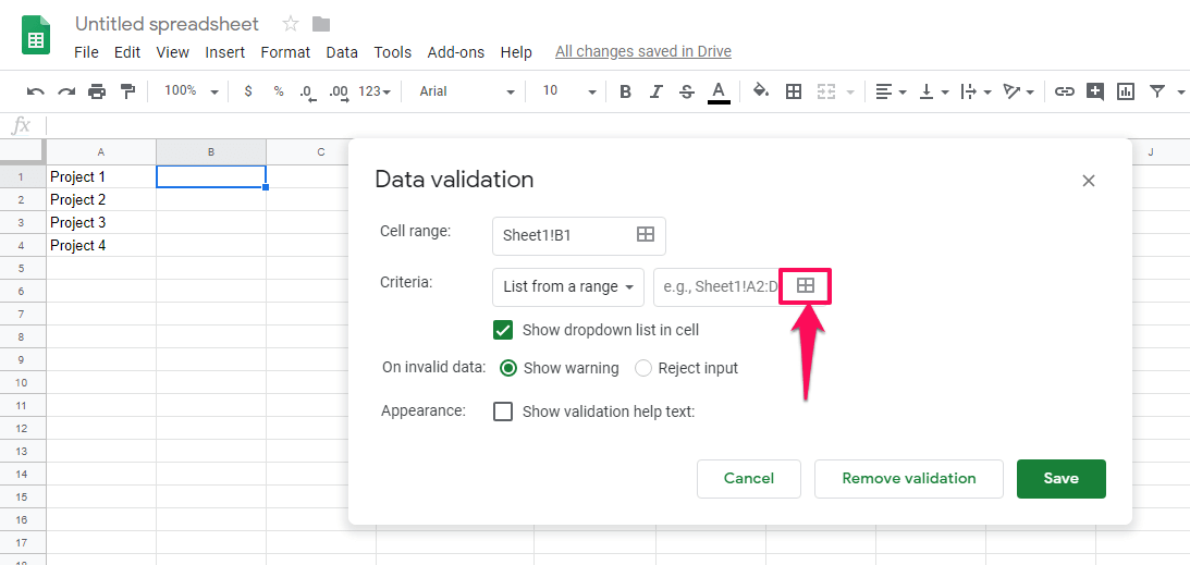 add dropdown items from other cells