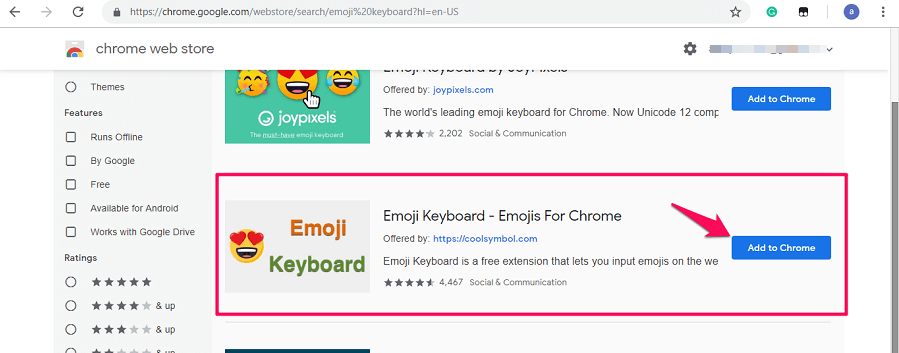 Emoji keyboard chrome extension