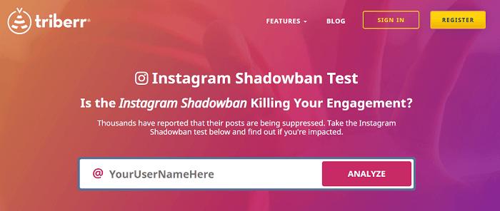 Instagram shadowban tester triberr