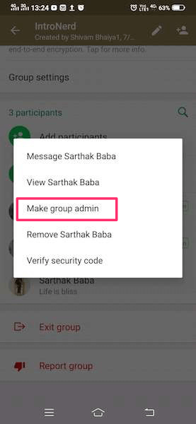 Make someone a group admin WhatsApp