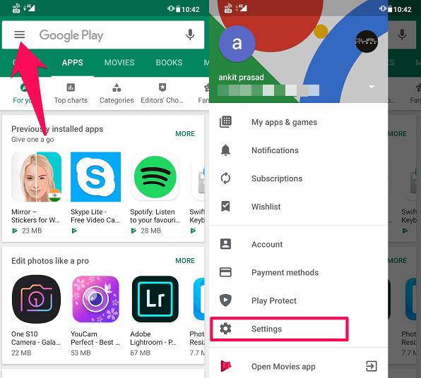 Play Store settings