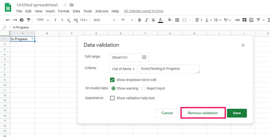 Remove data validation