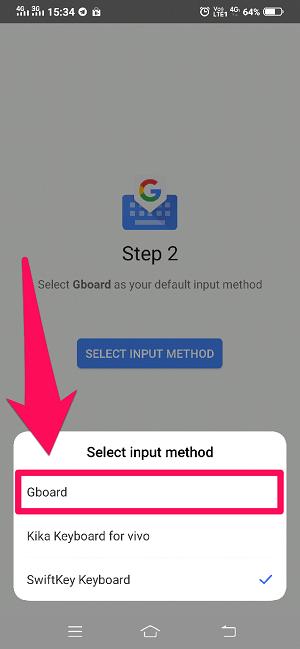 Select Gboard input