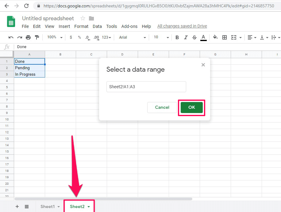 Select data range for adding drop down from another sheet