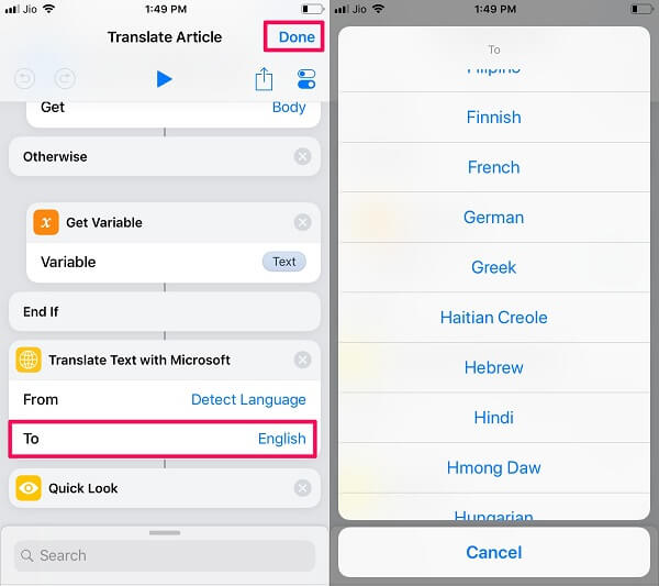 select language for webpage translation in Safari on iOS