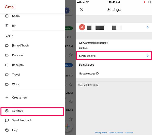 Swipe Actions settings