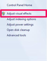 adjust visual effects