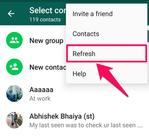 Refresh WhatsApp contacts