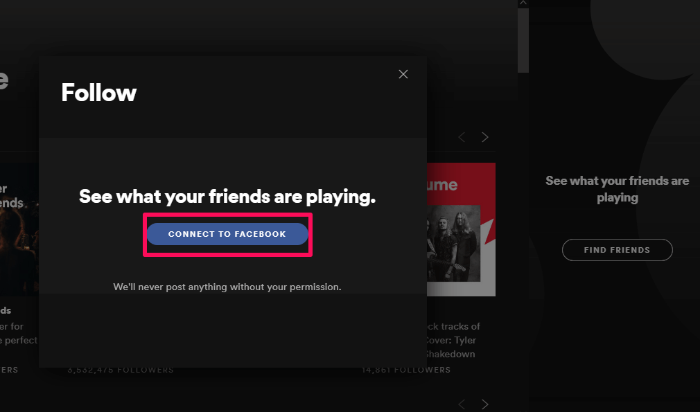 connect Facebook on Spotify