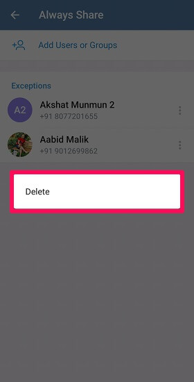 delete option