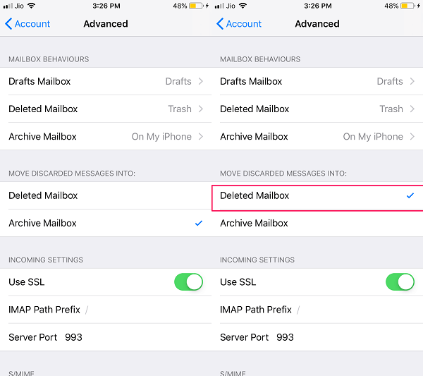 delete instead of archive on iOS