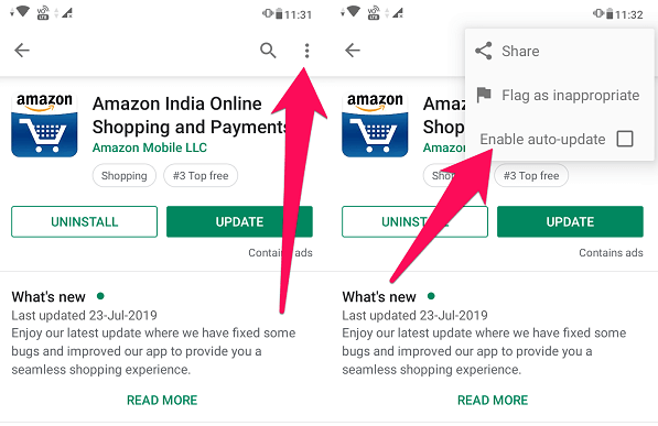 disable specific apps from updating automatically