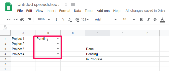 drop down added to all cells
