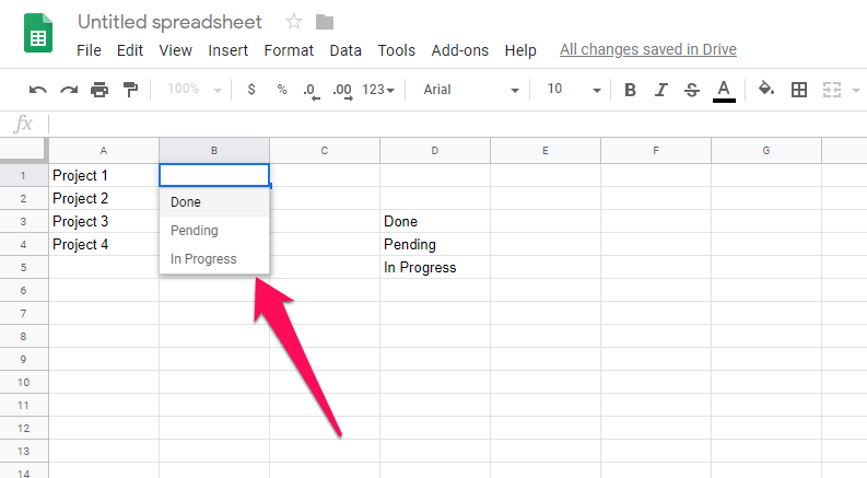 drop down added based on other cells values