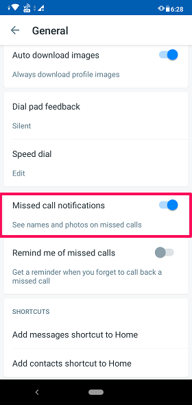 enable Missed call notifications from Truecaller