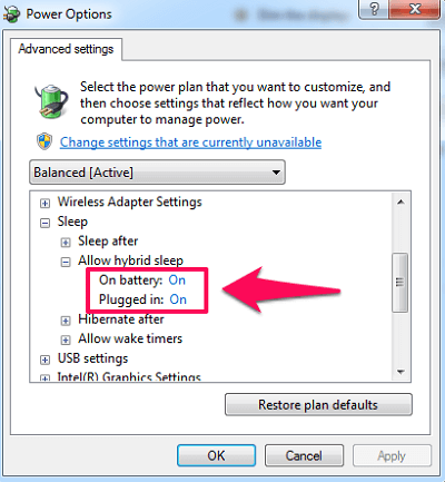 enable or disable hibernate in windows 7