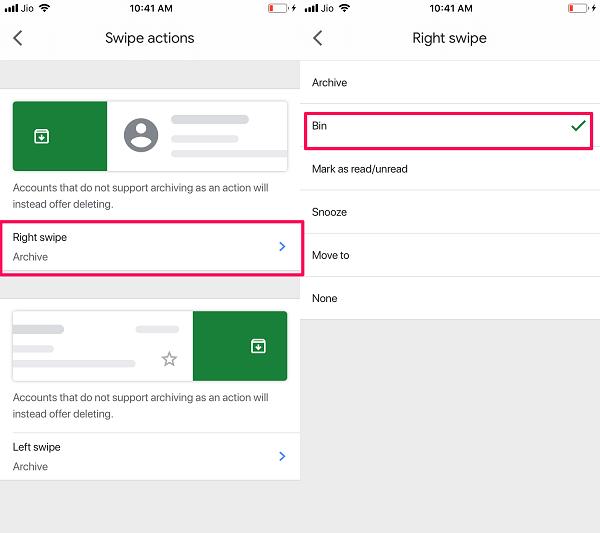enable swipe to delete on Gmail iOS App