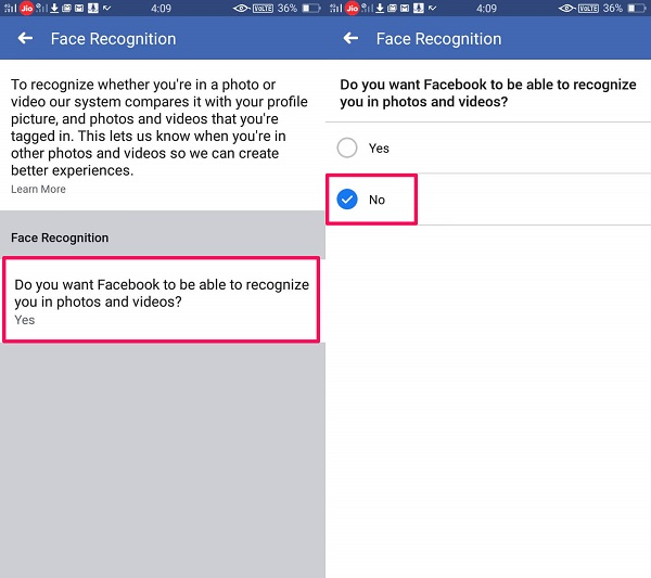 Disable Facebook face recognition on mobile app